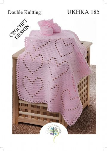 Crochet Pattern for Heart Blanket & Bootees UKHKA 185
